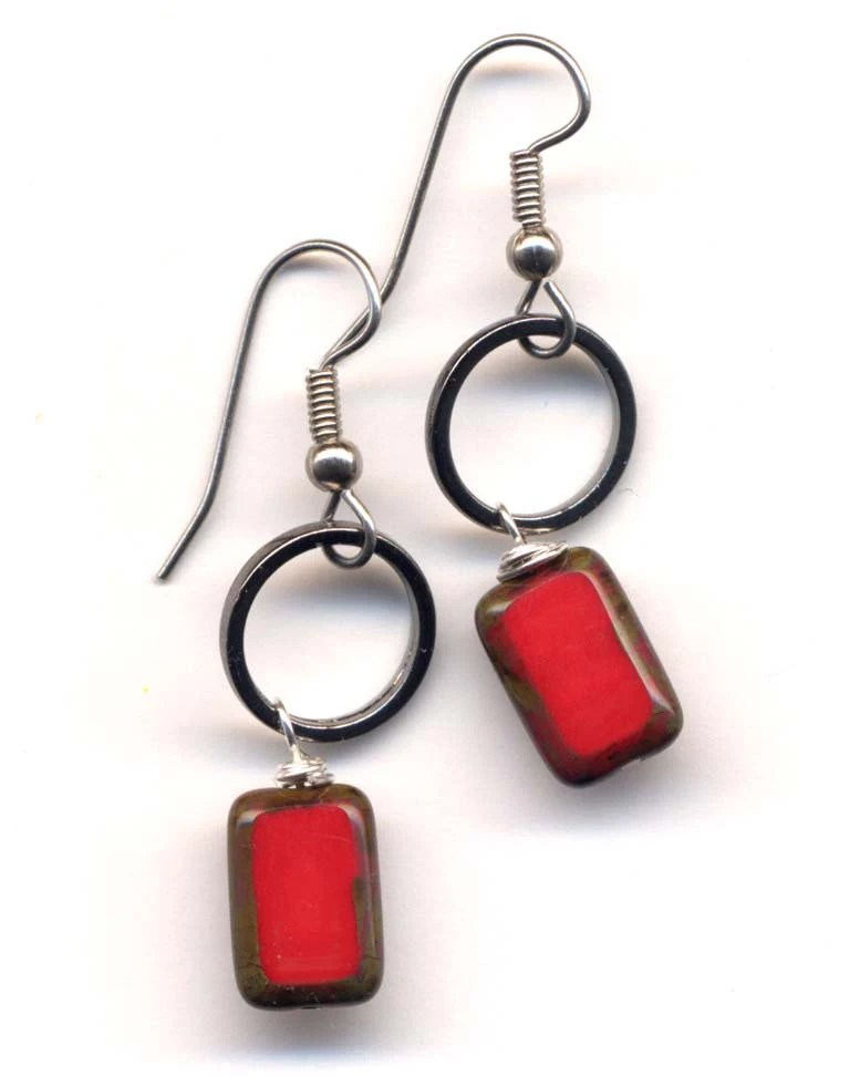 Choose your Red Earrings - Red Earrings - gun metal or silver shiny circle - all surgical steel and fancy glass - by AnnaArt72 - Annaart72