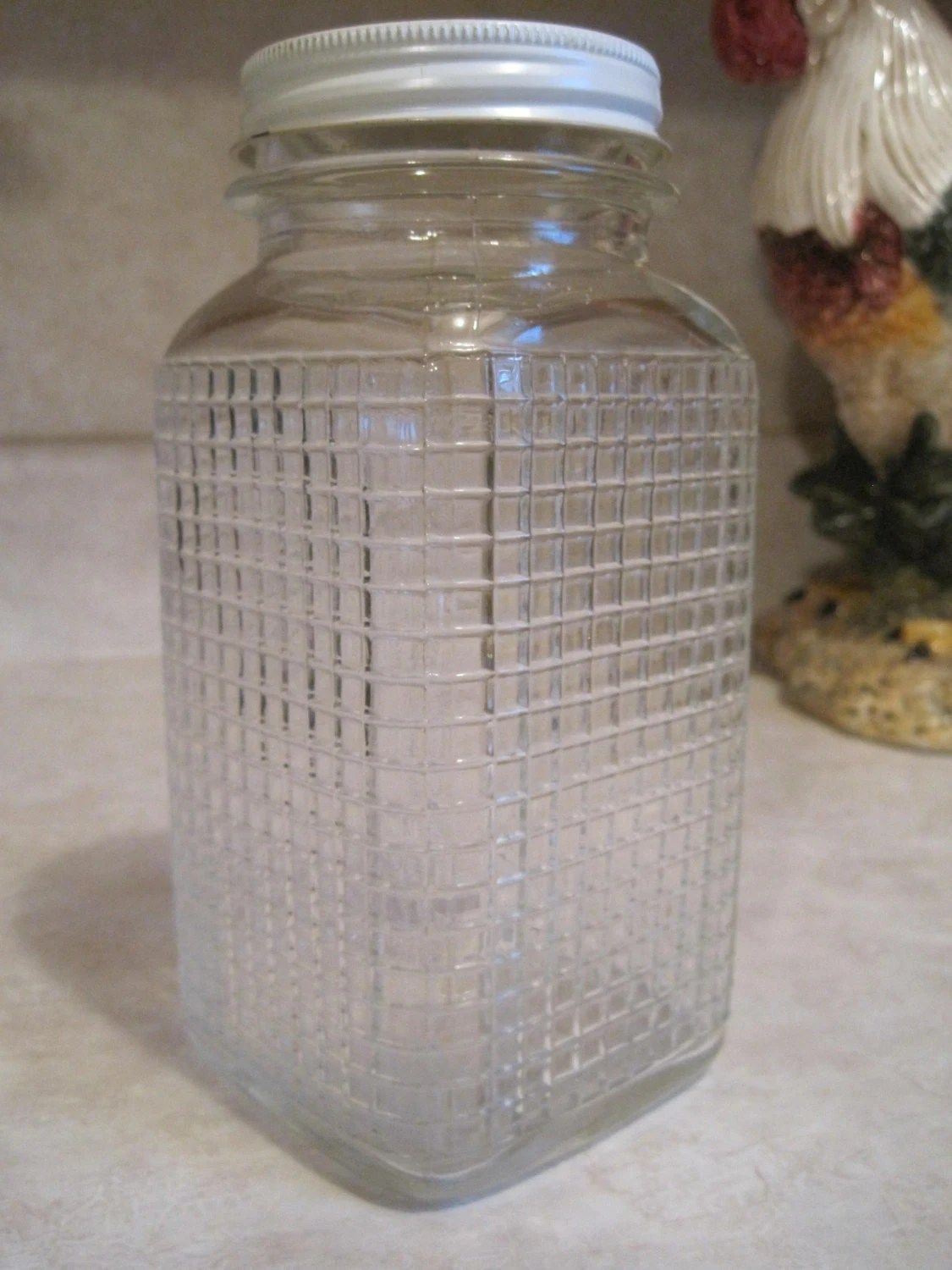 Vintage Anchor Hocking Quart Jar Heavily Embossed Square Grid