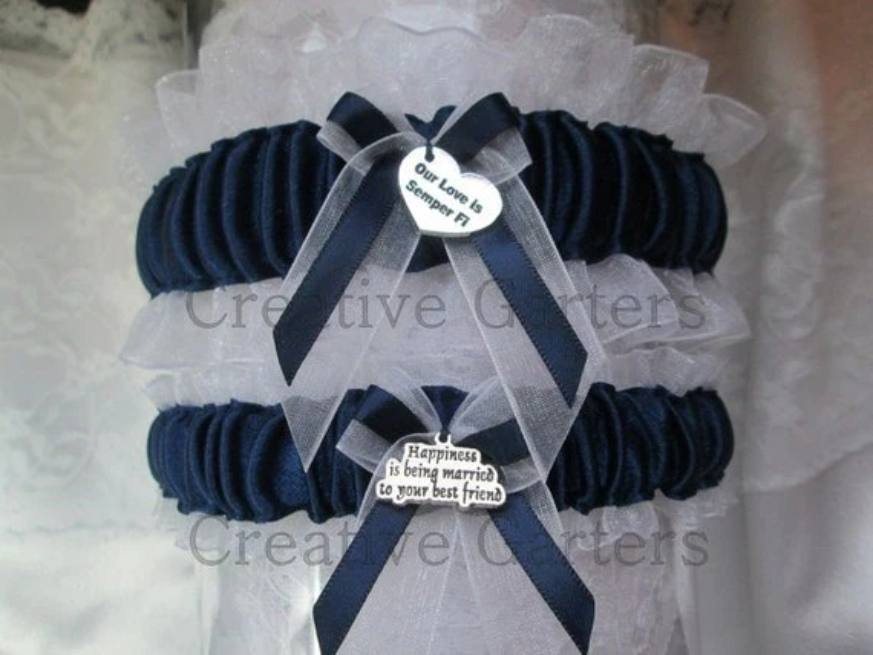 Marine Corps Wedding Garter Set Something Blue By