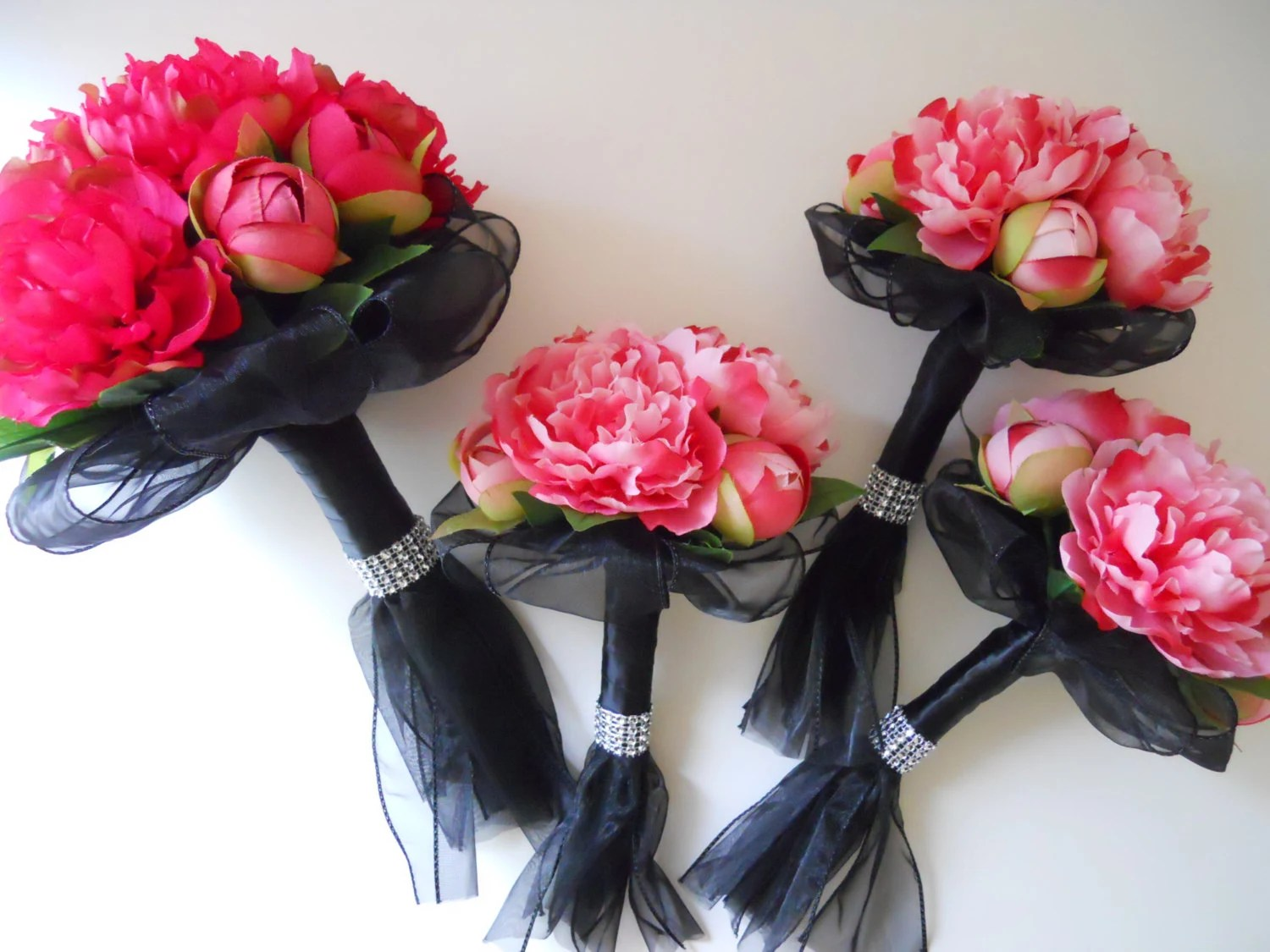Hot Pink Pink Fuchsia And Black Bridal Bouquets Set