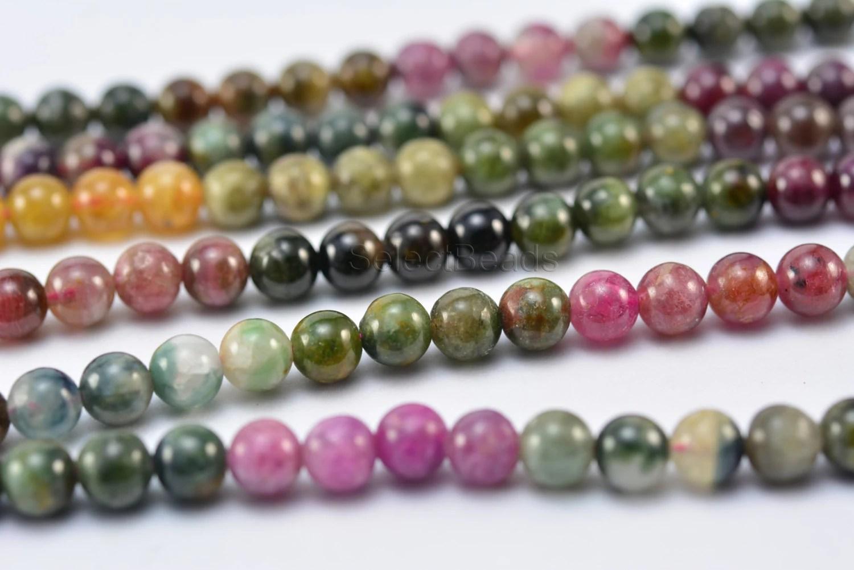 Natural Stone Beads : Tourmaline mm round gemstone stone bead natural