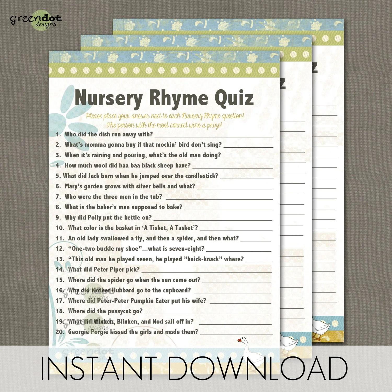 Instant Download Nursery Rhyme Quiz Baby Shower By Greendotdesigns