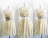 Soft spring sunshine: Rustic wedding country chic pale yellow bridesmaid dress