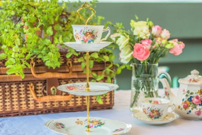 Quirky mad hatter's vintage tier cake stand, for an Alice-in-Wonderland tea party