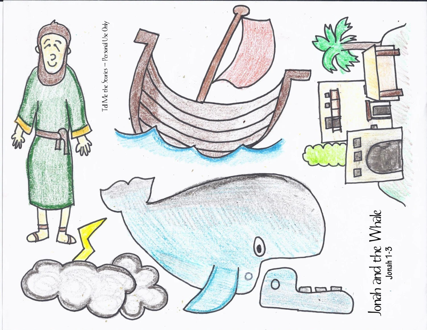 Jonah And The Whale Printable Story Pieces By Tellmethestories