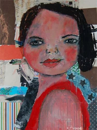 Acrylic Portrait Painting Collage 9x12 Canvas Panel, Original, Colorful, Mixed Media, Look Good, Girl, Black Hair, Orange, Rosy Red Cheeks
