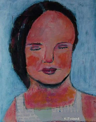 Acrylic Portrait Painting, Collage 8x10, No More Tears, White, Original, Girl, Canvas Panel