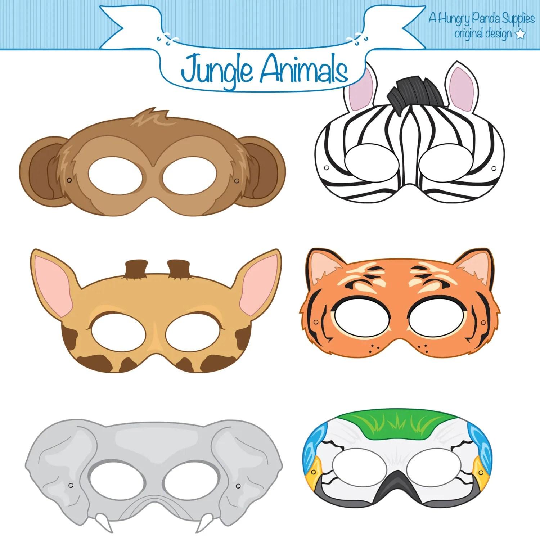 Jungle Animals Printable Masks Monkey Mask Zebra Tiger