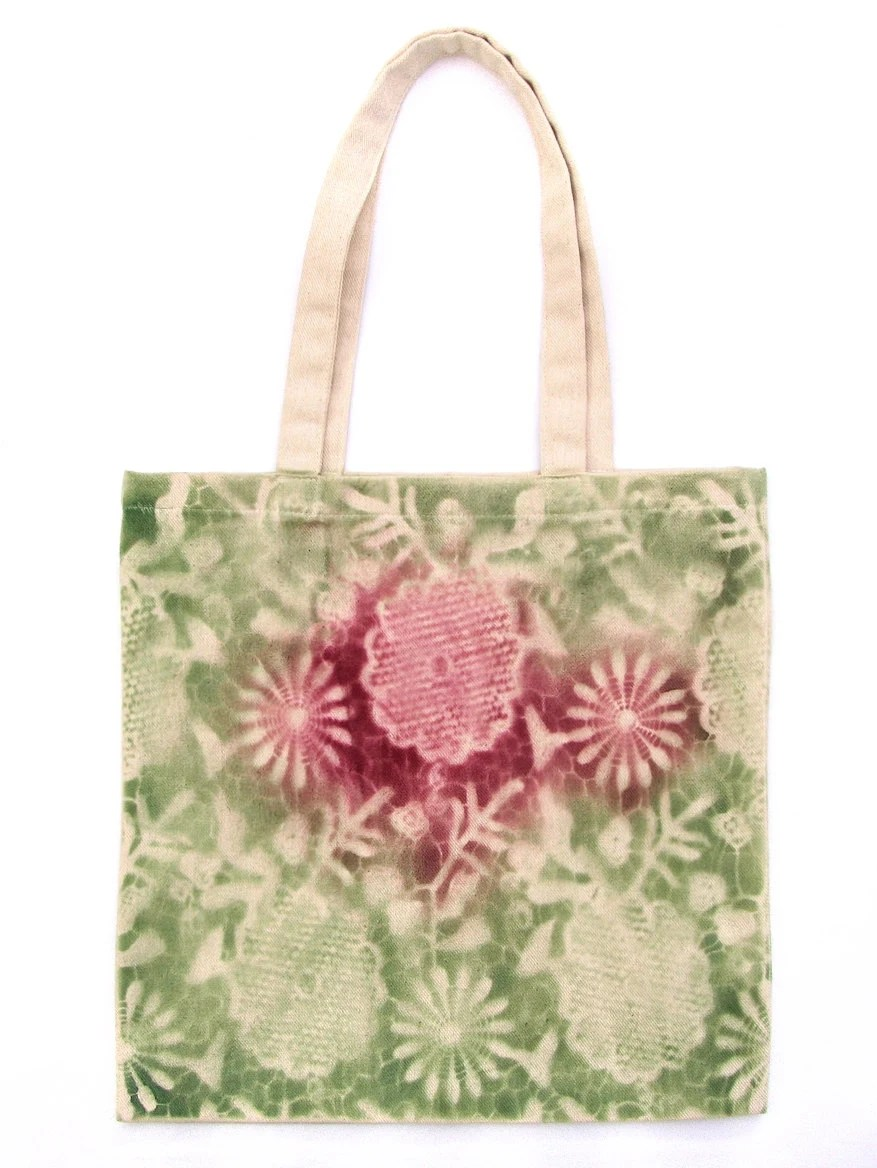 Green cotton bag hand made with lace, flowers pattern. Natural raw cotton, market bag. - DorSilk