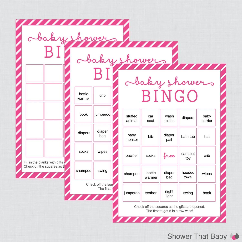 Pink Baby Shower Bingo Cards 40 Unique Cards And Blank Bingo