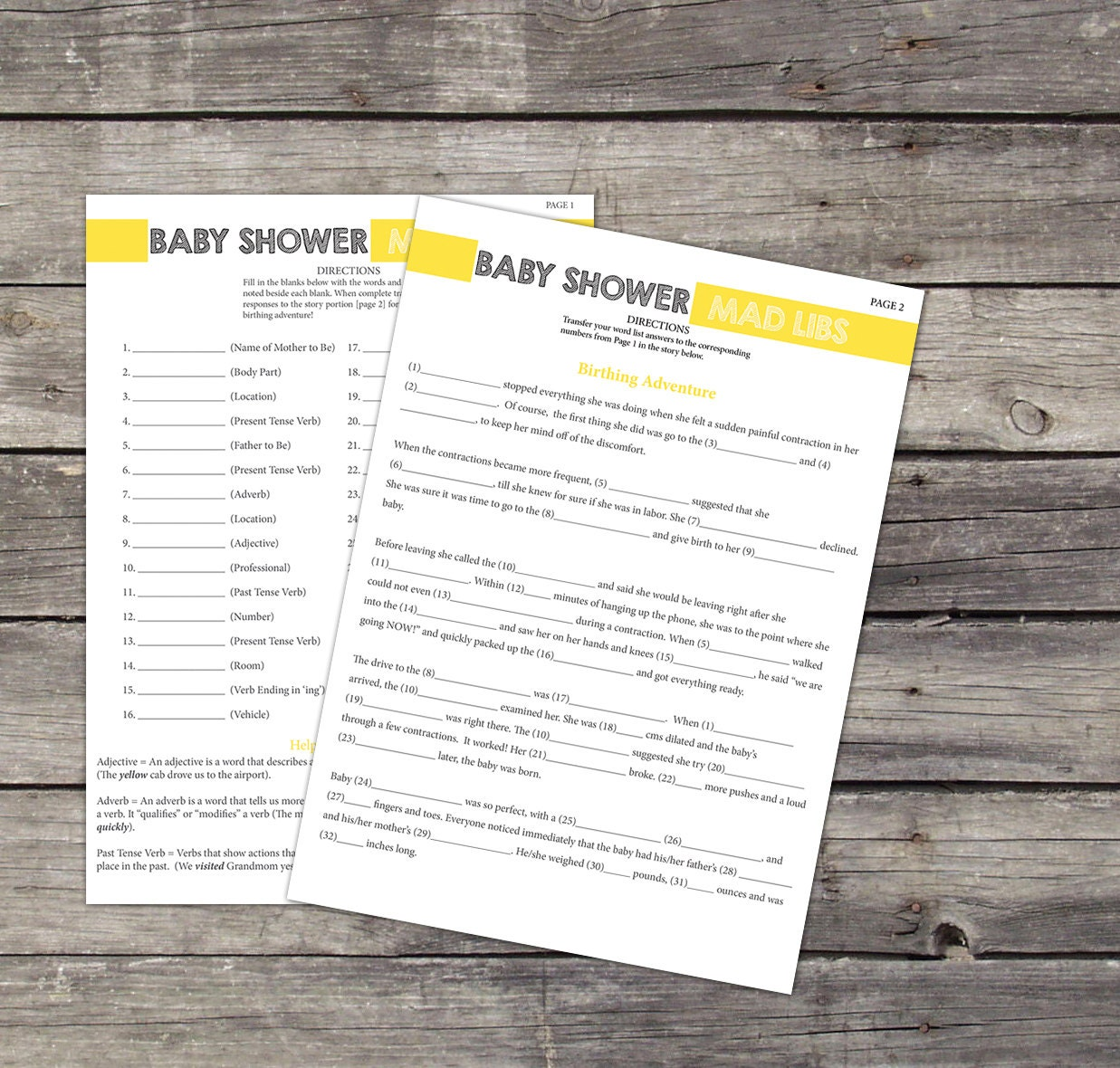 Baby Mad Libs Baby Shower Game Printable 8 5x11 Game Sheet