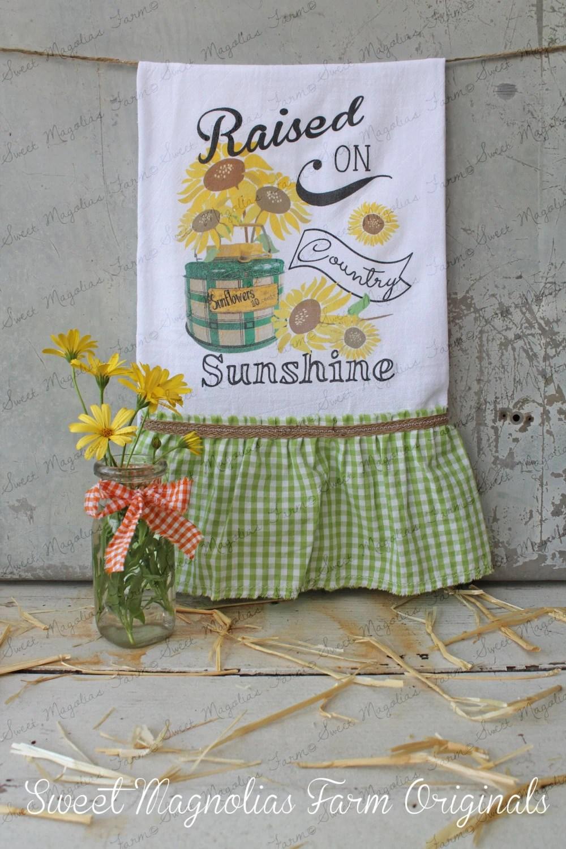 Items Similar To Flour Sack Kitchen Towel Farmhouse Country Style Ruffle Farm Cottage Fall