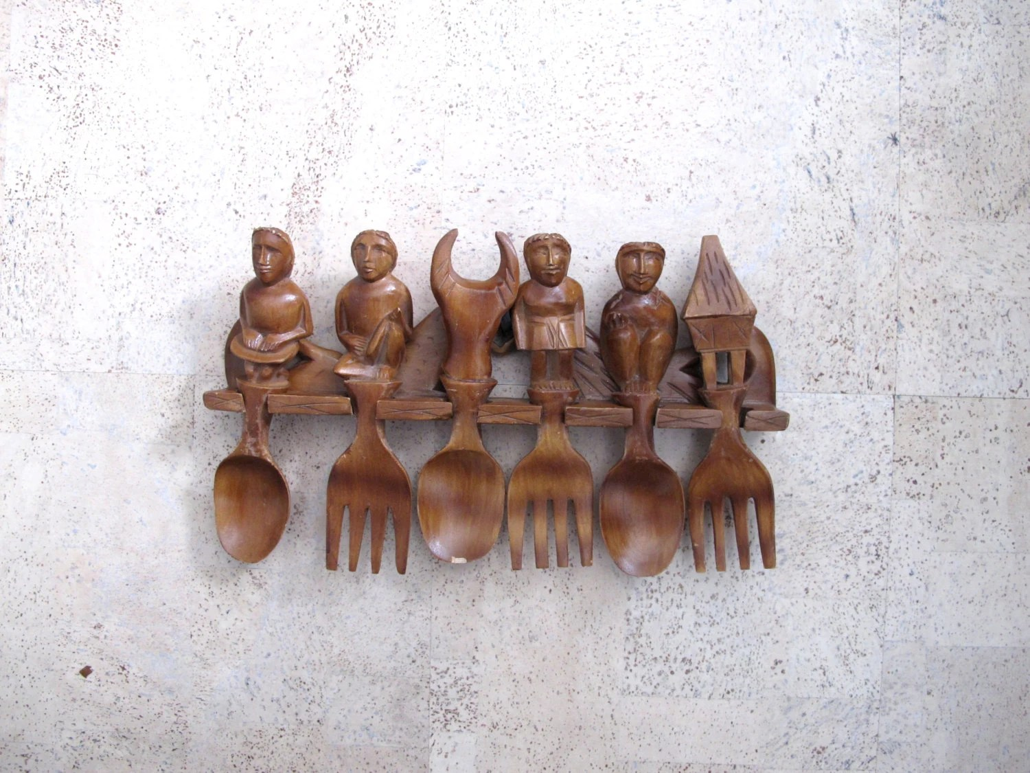 Vintage Folk Art Carved Wood Figural Spoons Forks Kitchen Wall Hanging Folk Art - BlueRoseRetro