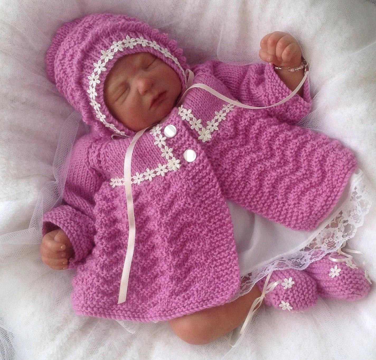 Baby Knitting Pattern Baby Girls Or Reborn Dolls Chevron
