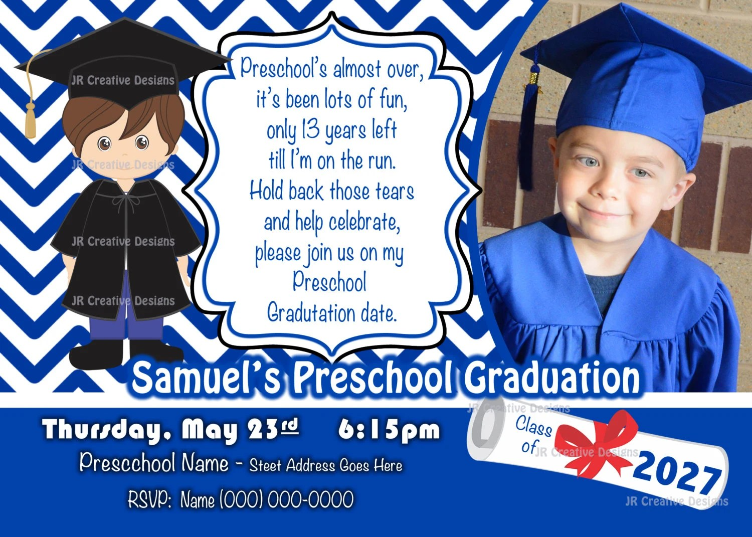 Preschool Graduation Invitation Kindergarten Graduation