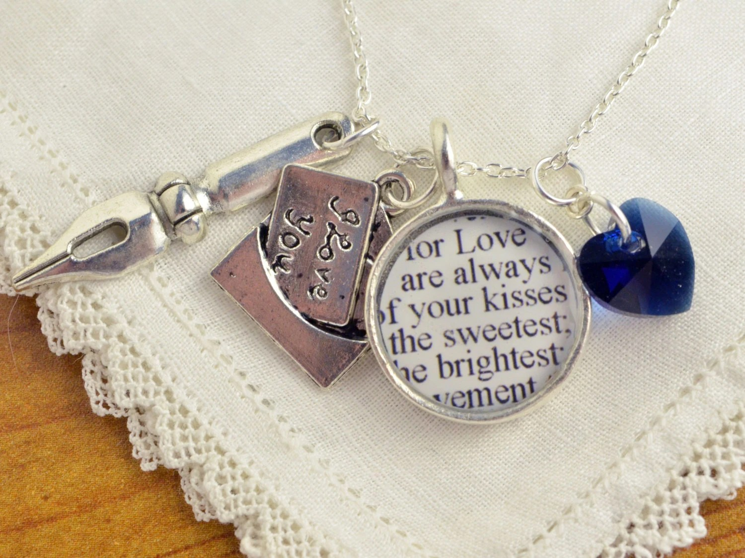 John Keats Love Letter Charm Necklace - Love Letters by Poets and Writers - Romantic Jewelry