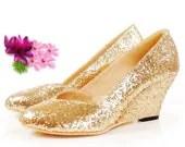 Custom Sparkle-Bling Silver OrGold Sequins Wedge Wedding Shoes Bridal Shoes - Blingwedding