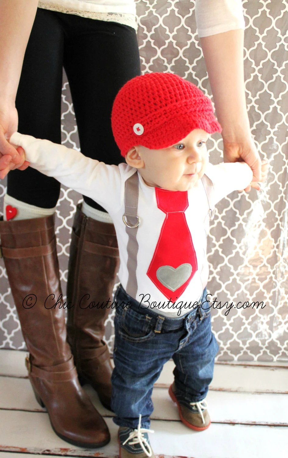 Items Similar To Valentine Baby Boy Tie And Suspenders