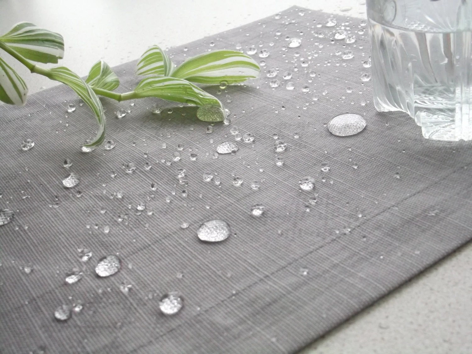 Oilcloth Fabric Placemat Grey Plaid Impregnated With Acrylic
