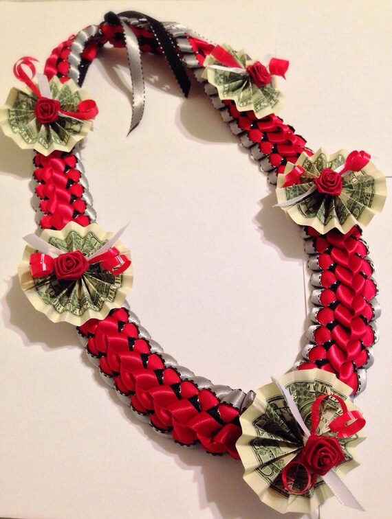 Crimson Red Deluxe Braided Ribbon Money Lei