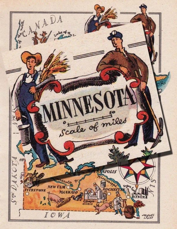 map of Minnesota from 1946 by French artist Jacques Liozu ...
