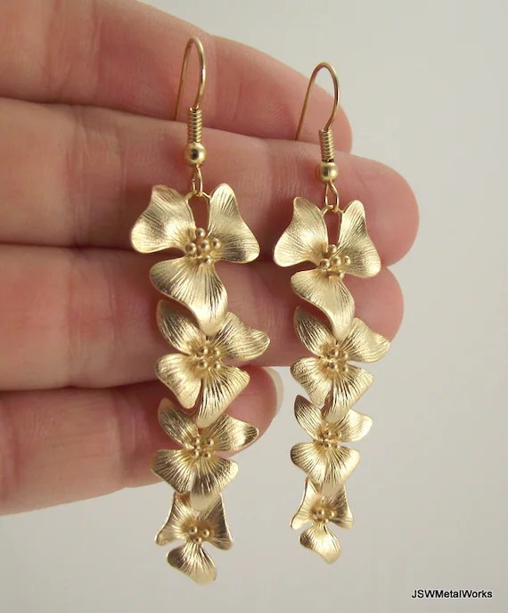 Cascading Gold Flower Earrings Long Gold Earrings
