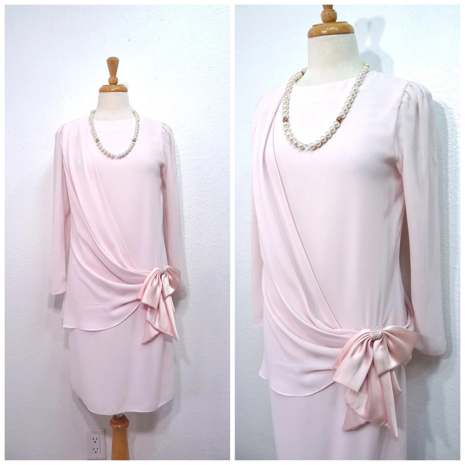 Vintage 1980s Sheer Pastel Pink Flapper Dress Satin Bow Rhinestone Sleeve Cocktail Party Size Small - KMalinkaVintage