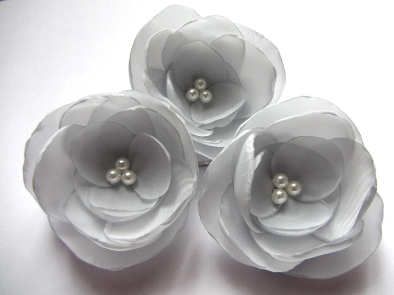 Silver Hair Flowers Wedding Hair Accessories Gray Bridal Hair