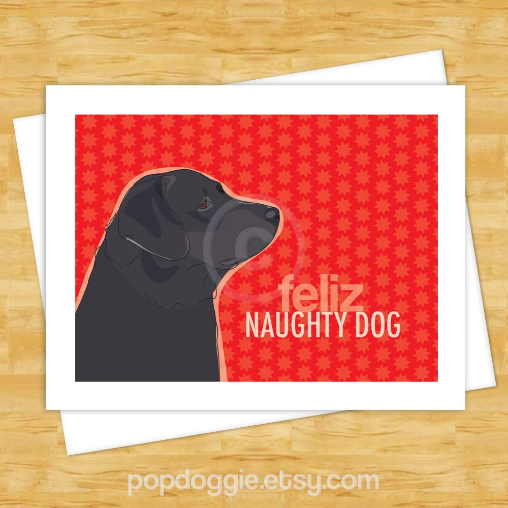 Dog Christmas Cards Feliz Naughty Dog With Black Labrador