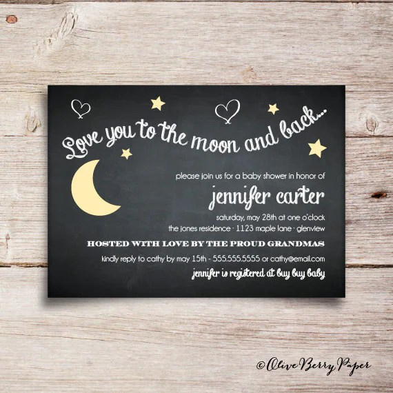 I Love You Moon And Back Baby Shower