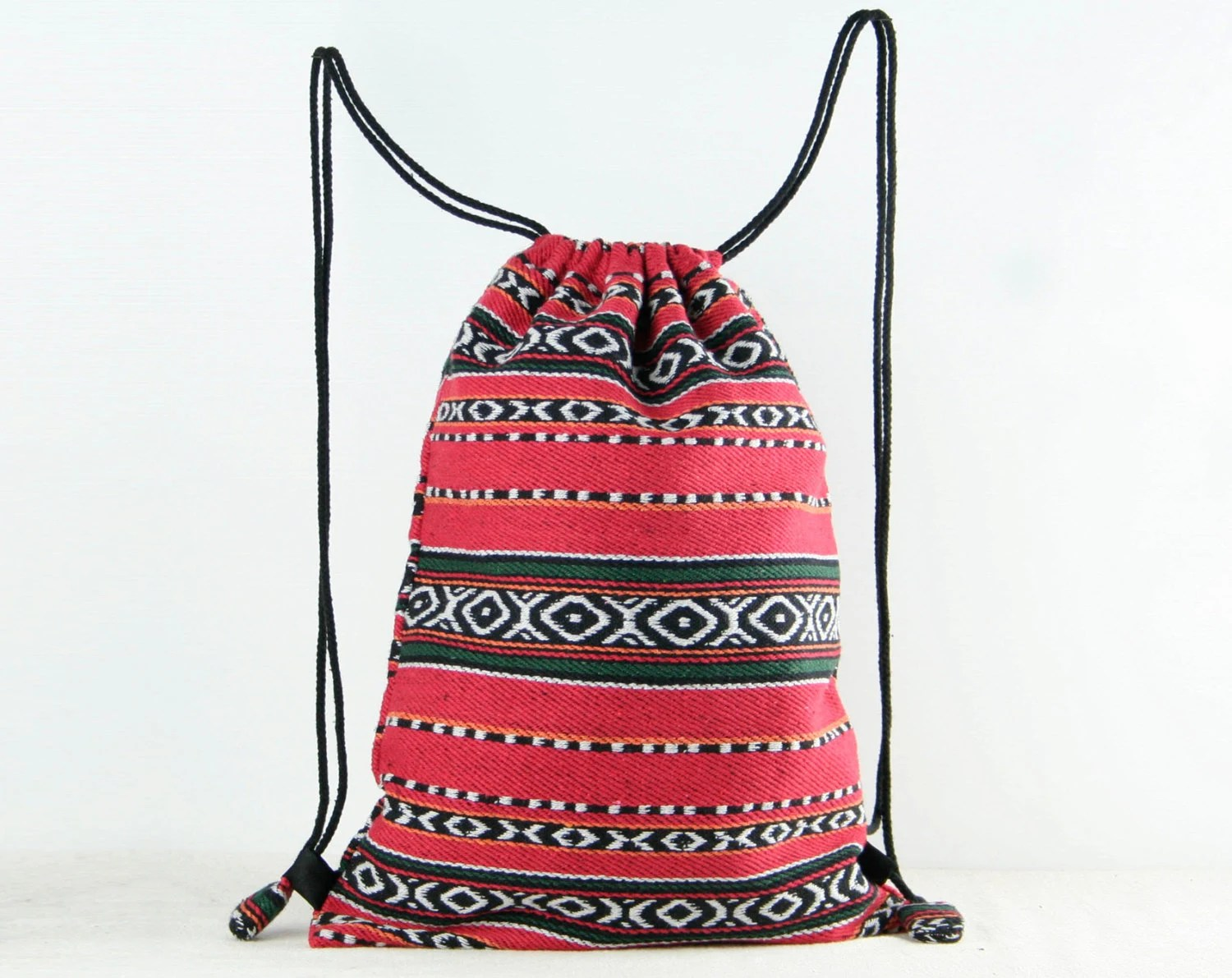 Red Drawstring Bag/ Backpack Native Tribal Woven Fabric Gym