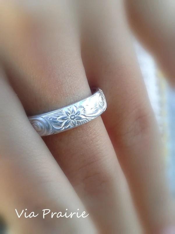 Hawaiian Ring Hawaiian Jewelry Wedding Band Hawaiian Flower