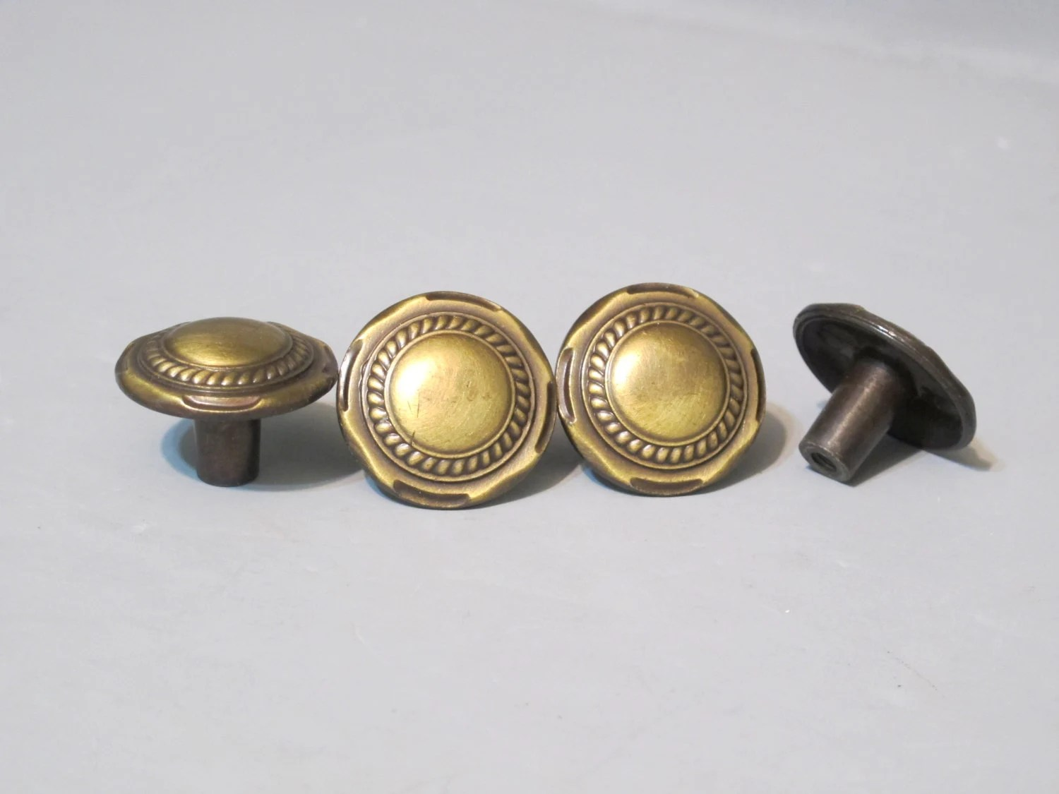 Vintage Brass Round Knobs With Back Plates Set Of 4