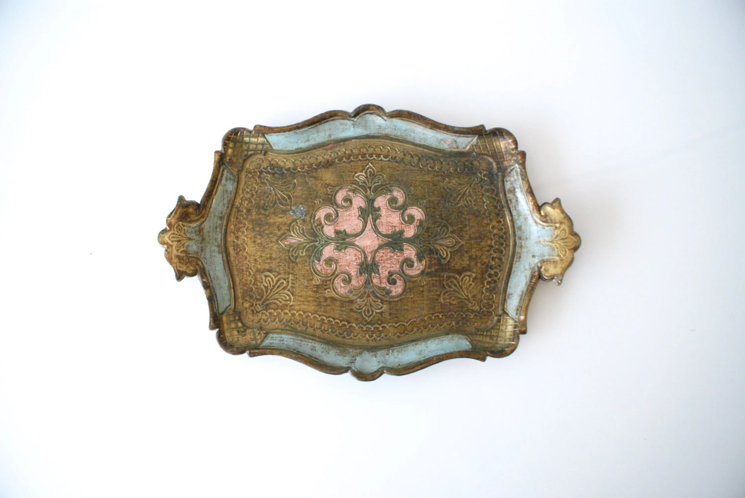 ITALIAN FLORENTINE TRAY Made In Italy 1960s Gold Gilded