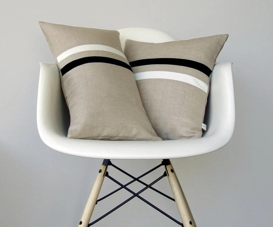 Black and White Striped Pillow Set | (12x20) and (16x16) by JillianReneDecor | Modern Home Decor | Minimal | Gift for Her - JillianReneDecor