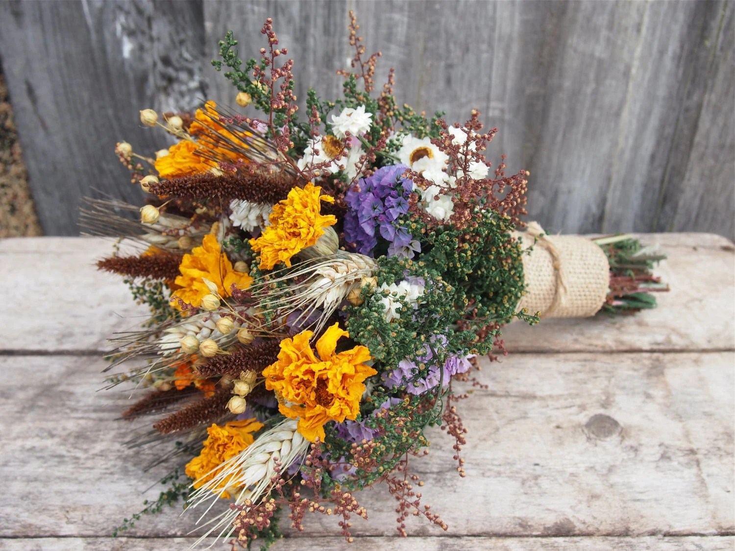Autumn HARVEST Bridesmaid Dried Flower Bouquet For A Rustic