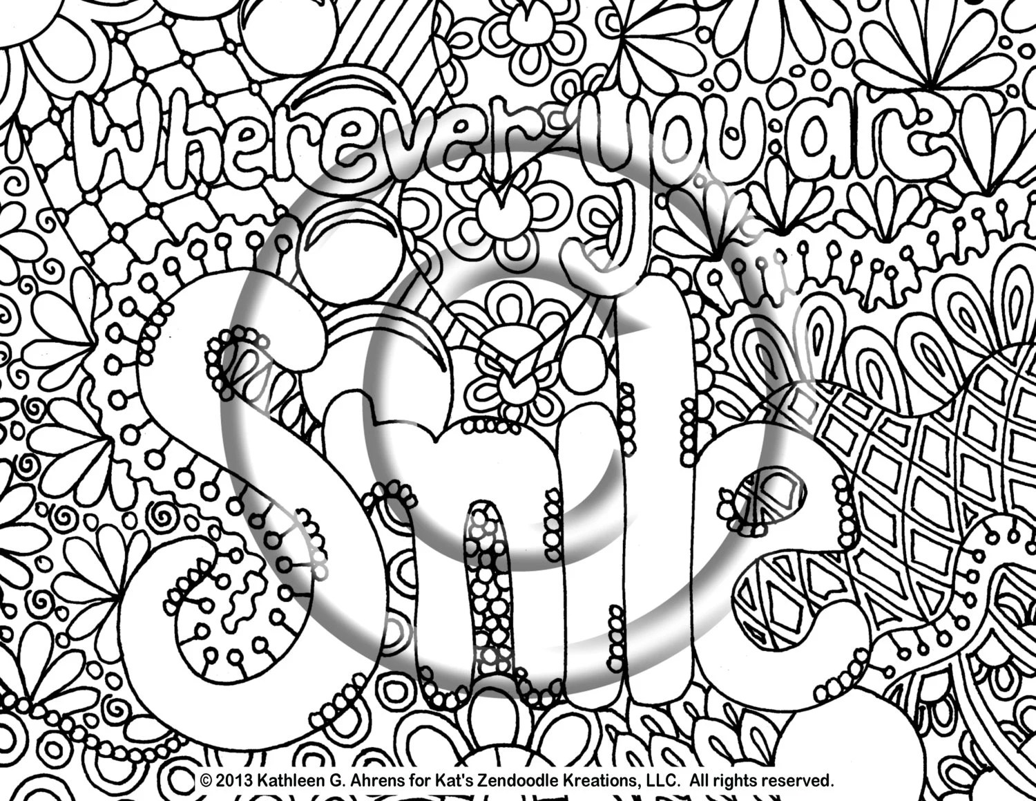 Instant Download Coloring Page Hand Drawn By