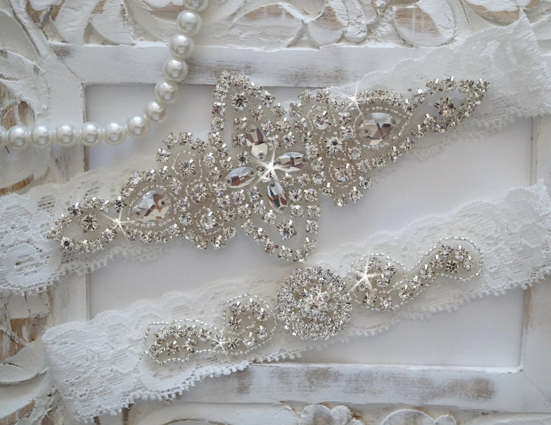 Wedding Garter Set Bridal Garter Set Vintage Wedding Lace