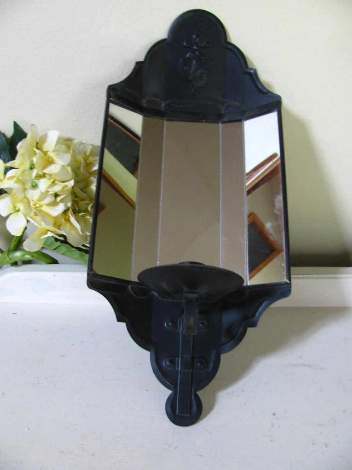 Vintage Black Mirror Candle Holder Sconce Wall Mount on Wall Mounted Candle Sconce id=33021