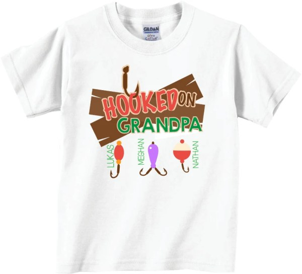 Personalized Grandpa Shirt Father's Day Shirts Hooked on
