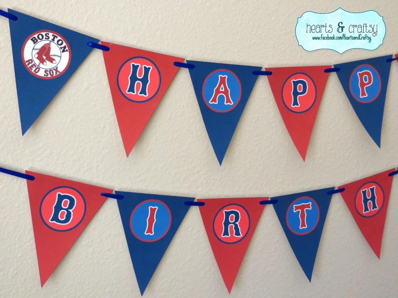 Boston Red Sox Party Mlb Custom Banner Birthday Red Sox