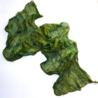 """Silk scarf ruffled Hand Dyed Scarf green, hand-painted """"Mermaid"""", the size of of 21"""" by 69"""" (53 * 176cm.) Ready to go."""