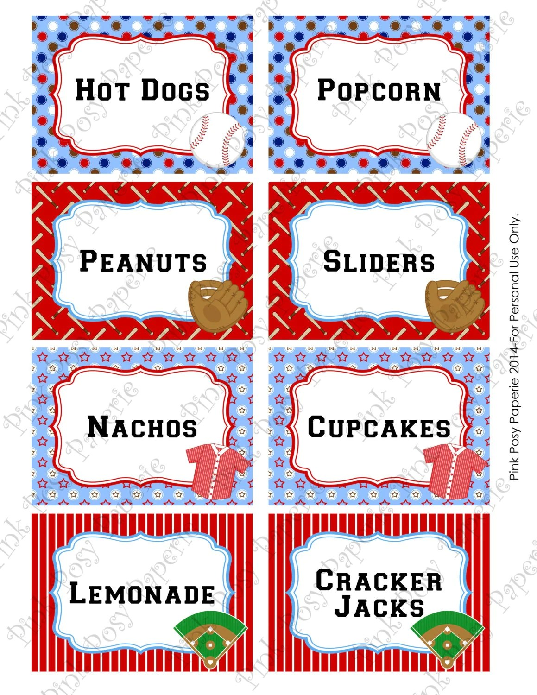 Printable Baseball Birthday Food Labels