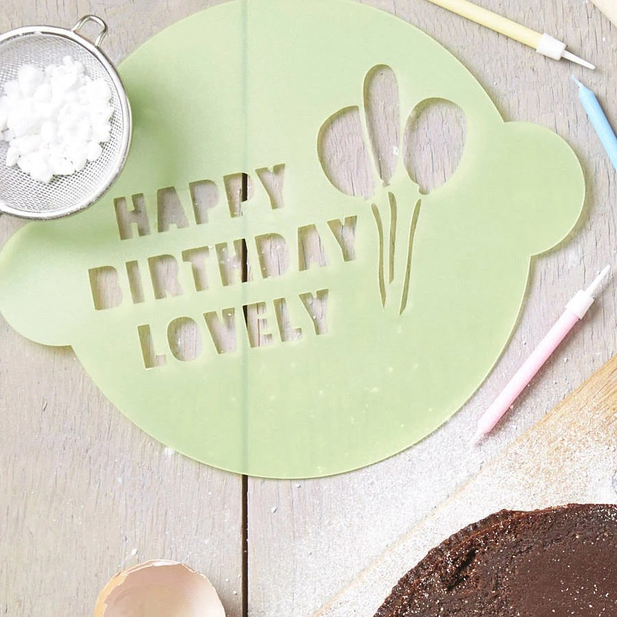 Personalised Happy Birthday Cake Stencil By Sophiavictoriajoy