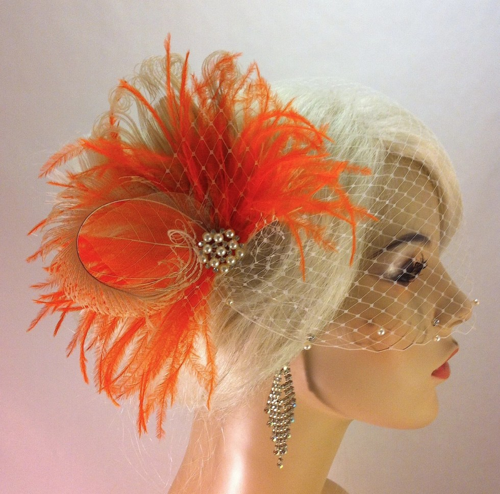 Peacock Hair Clip, Bridal Fascinator, Wedding Headpiece, Feather Fascinator, Bridal Hair Accessories, Gatsby Wedding, Great Gatsby Headpiece