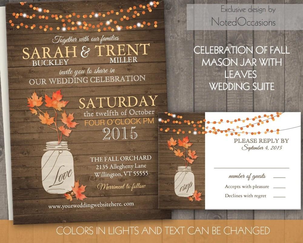 Fall Mason Jar Wedding Invitations