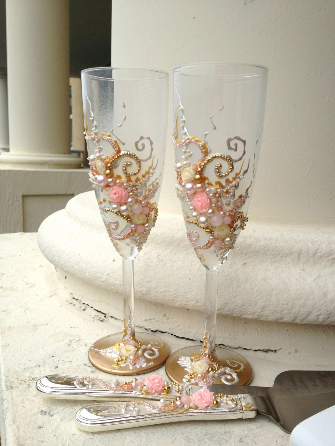 Wedding Cake Server Set In Blush Pink Gold And By