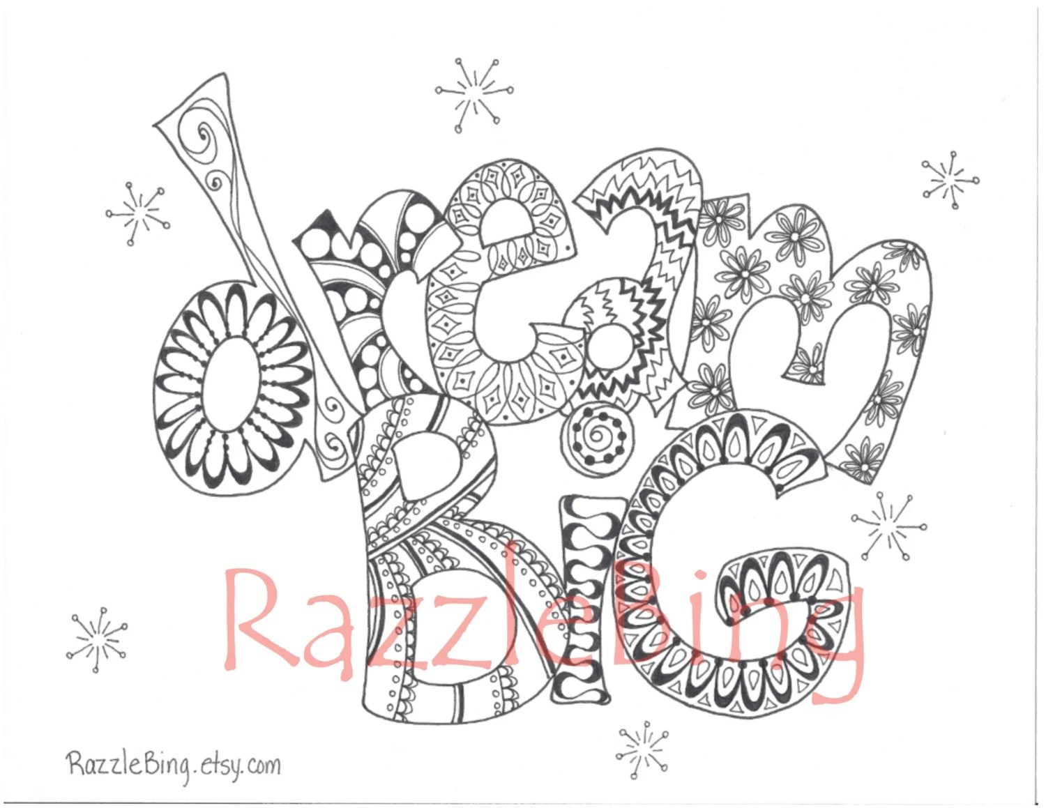 DIY Printable Coloring Page-Zentangle Inspired Dream
