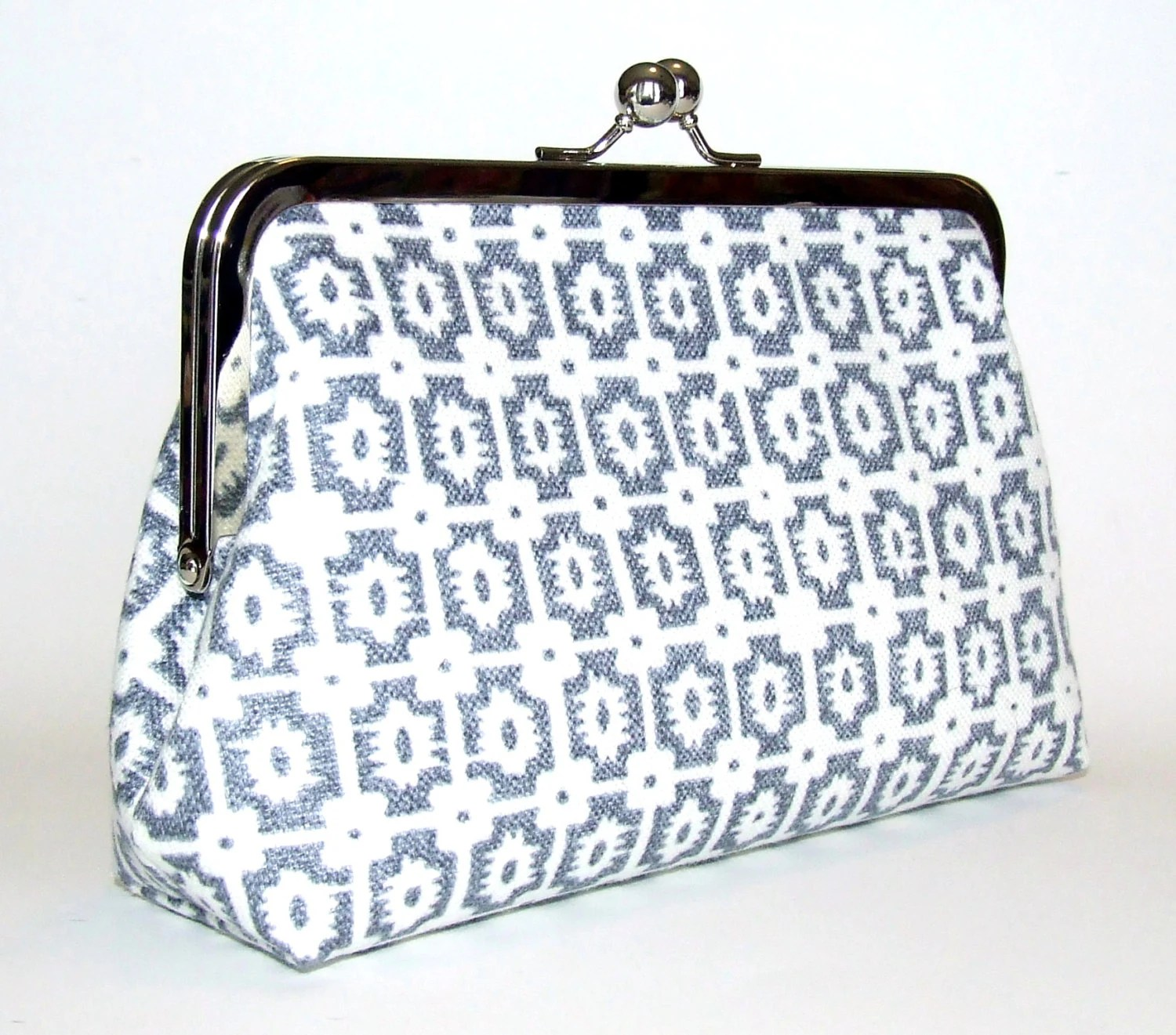 Linen Clutch - Blue Grey Gunmetal Denim and Off White Geometric Check Pattern, Casual Spring and Summer Bag, Purse - FABbyCAB