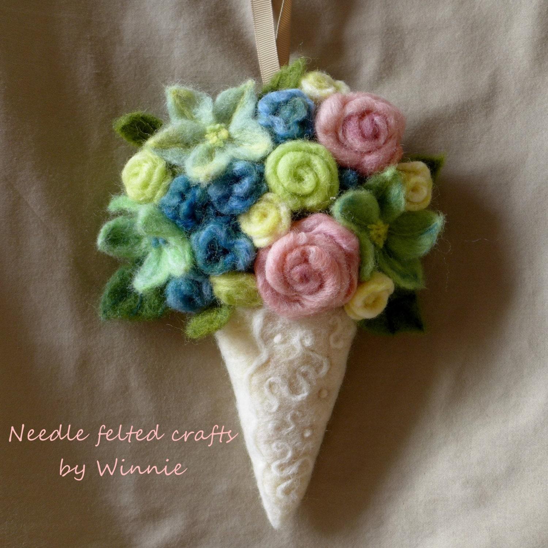 Needle felted flower arrangement wall sconce on Wall Sconce Floral Arrangements Arrangement id=94861